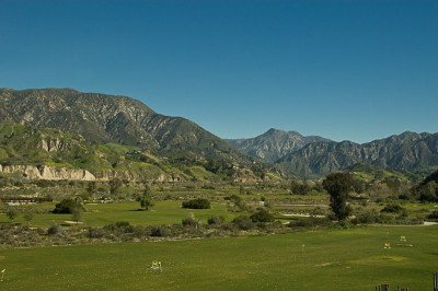 San Gabriel Mountains in background of the Angeles National Golf Club